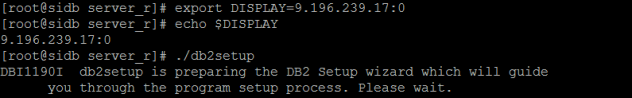 DISPLAY Variable and Install DB2