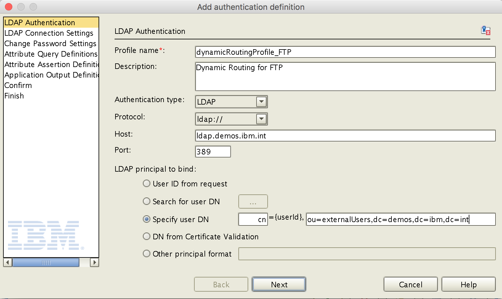 Authentication Definition - LDAP Authentication