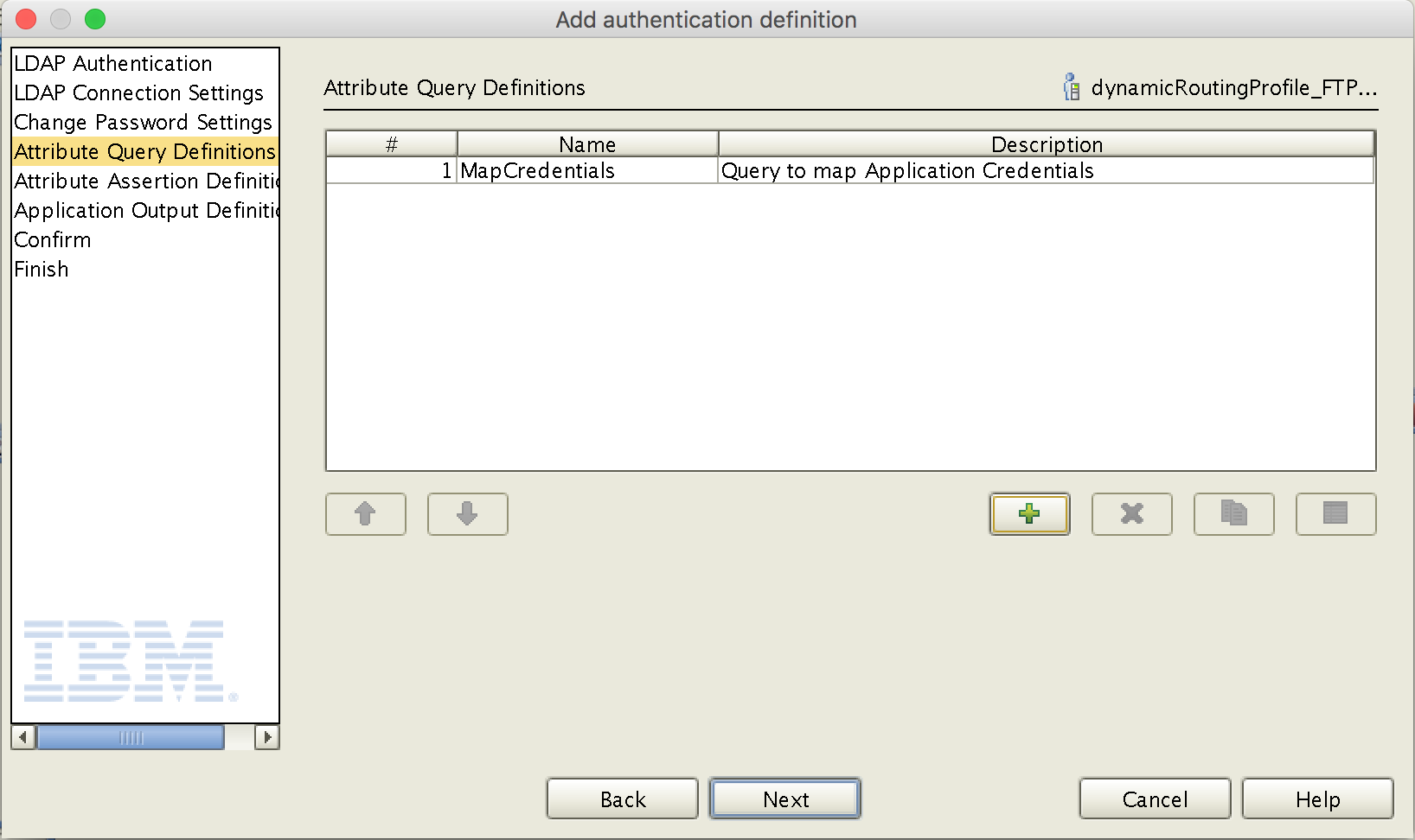 Authentication Definition - Attribute Query Definition created