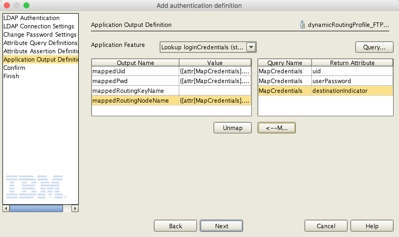 Authentication Definition - Application Output Definition
