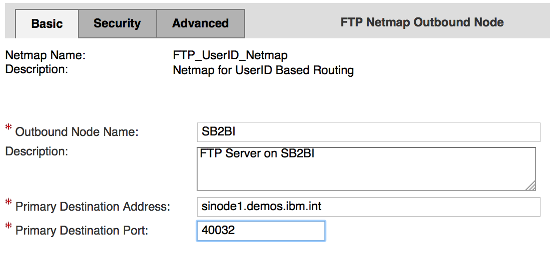 FTP Netmap - Outbound Nodes - SB2BI - Basic