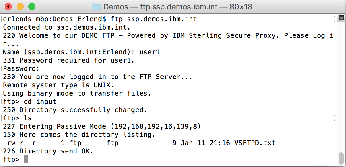 Logging in through ssp.demos.ibm.int